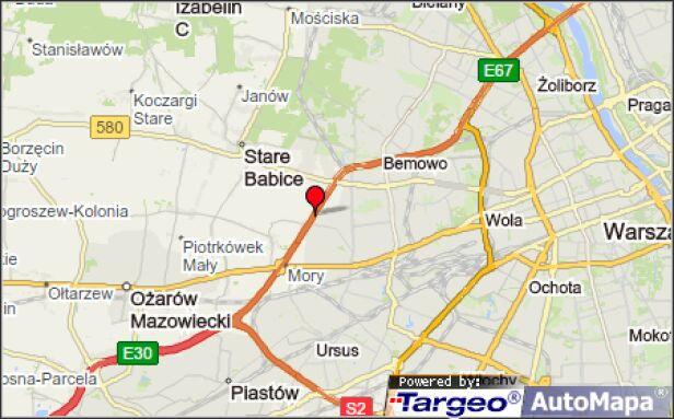 Do zderzenia doszło około 500 metrów za ulicą Górczewską Mapy Tarego