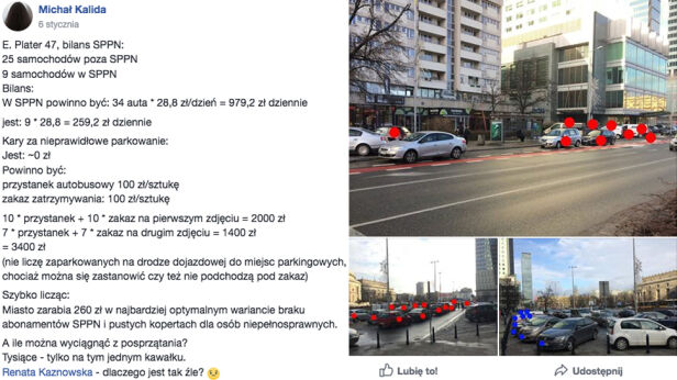 Parkowanie na ulicy Emilii Plater  facebook / Święte krowy warszawskie