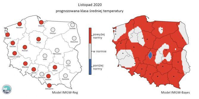 Prognozowana klasa średniej miesięcznej temperatury powietrza w listopadzie 2020 r. według modelu IMGW-Reg i IMGW-Bayes (IMGW-PIB)